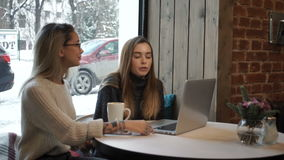 Two girls working at a laptop in a cafe.  stock video footage