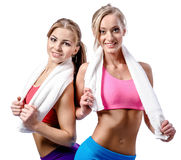 Two girls after workout Stock Photo