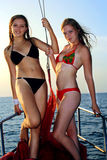 Two girls on yacht Royalty Free Stock Photos