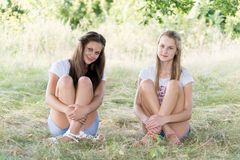 Two girls of 14 years on  nature Stock Photo