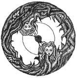 Two girs in circle Stock Image