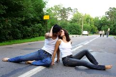Two girs at road Royalty Free Stock Photography