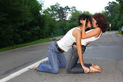 Two girs at road Stock Photo
