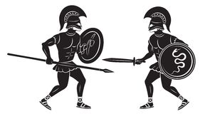 Two gladiators. The figure shows a fight between two gladiators Royalty Free Stock Photos