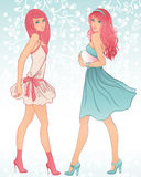Two glamour girls. With pink hair Royalty Free Stock Images