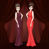 Two glamour girls Royalty Free Stock Photo