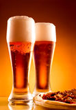 Two glass of beer and pizza Royalty Free Stock Image