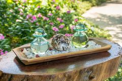Two glass bottles with aromatic oils and sea shell on the wooden shelf Royalty Free Stock Image