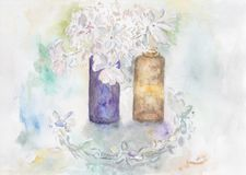 Two glass bottles with flowers. Original watercolour illustration of two apothecary bottles with white flowers on a glass dish Royalty Free Stock Image