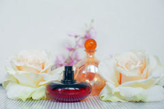 Two glass bottles of perfume Stock Image
