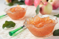 Two glass bowls with apple jam Royalty Free Stock Image