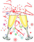 Two glass of champagne stock illustration
