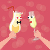 Two glass character cartoon cheers fall in love dinner each other Royalty Free Stock Images