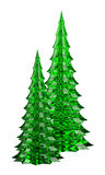 Two glass christmas trees table decoration isolated on white Royalty Free Stock Photography