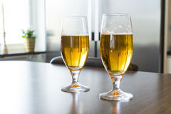 Two glass of cold tasty beer Stock Image