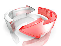 Two glass concept cycle or recycle arrows. 3d render illustration Stock Image