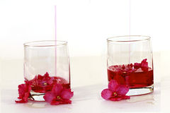 Two glass cups with red liquid on a white background with violet flowers floating in liquid. Two glass cups with red liquid on a white background: almost empty Royalty Free Stock Photos