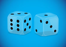 Two glass dices Stock Photo