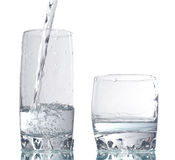 Two glass drink. Wo glass drink with dynamic water Royalty Free Stock Images