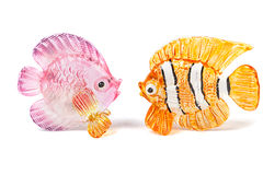Two glass fish figurines. On white background Royalty Free Stock Photos