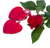 Two glass hearts with red  rose Stock Image