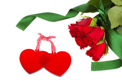 Two glass hearts with red roses Stock Photos
