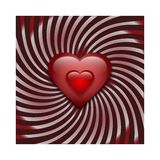 Two glass hearts on striped background. Two red glass hearts on a circular background with a beautiful spiral gradient royalty free illustration