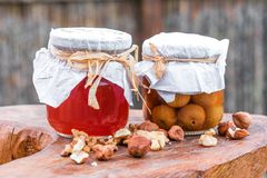 Two glass jars with goodies stock photo
