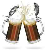 Two glass mugs of dark beer. Two mugs with cap with ale, dark beer. Mug with cap with beer. Vector Royalty Free Stock Photo