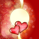 Two glass red hearts on red background with bokeh Royalty Free Stock Photography