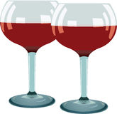 Two glass with red wine Stock Images