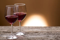 Two glass of red wine. For romantic night Royalty Free Stock Photos