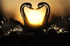 Two glass swans at sunset in the shape of a heart stock photo