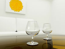 Two glass on table in room Stock Images