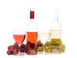Two glass, two bottles of wine and grapes. On the white bsckground Royalty Free Stock Photos