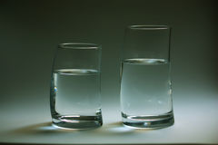Two glass of water curved Royalty Free Stock Photography
