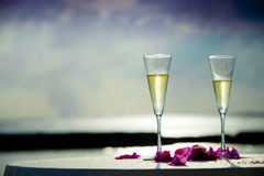 Two glass of white wine Royalty Free Stock Photo