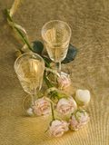 Two glass with wine and roses Royalty Free Stock Photography