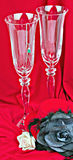Two glasses. On red background Royalty Free Stock Photos