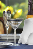 Two glasses. With champagne and Table complements Stock Photo