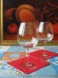 Two glasses. Two wine glasses stock photography