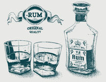Two glasses of alcohol, bottle and rum logotype Stock Photos