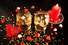 Two glasses with alcohol and ice Royalty Free Stock Photos