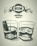 Two glasses of alcohol and rum logotype Royalty Free Stock Photo
