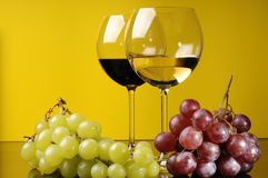 Two Glasses And A Bottle Of Wine Royalty Free Stock Images