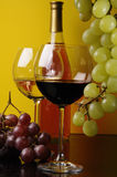 Two Glasses And A Bottle Of Wine Royalty Free Stock Photo