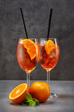 Two glasses of aperol spritz cocktail Stock Image