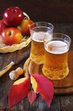 Two glasses of apple cider and red apples. In wicker basket. Rustic style Royalty Free Stock Photos