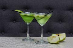 Two glasses of apple martini Royalty Free Stock Image