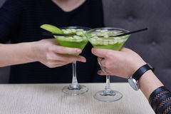 Two glasses of apple martini Royalty Free Stock Photography
